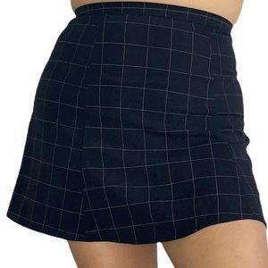 American Apparel Mini Skirt Grid A Line High Waist